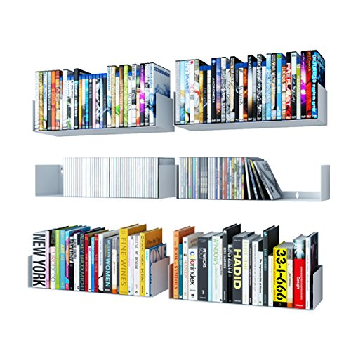 Wallniture U Shape Bookshelf Wall Mountable Metal CD DVD Storage Rack White Set of 6