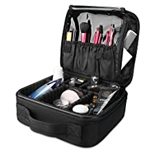 ProCase Makeup Train Case, Portable Cosmetic Case Organizer Artist Storage Bag Travel Organizer Makeup Carrier with Large Capacity and Adjustable Dividers for Cosmetics Toiletry Electronics –Black