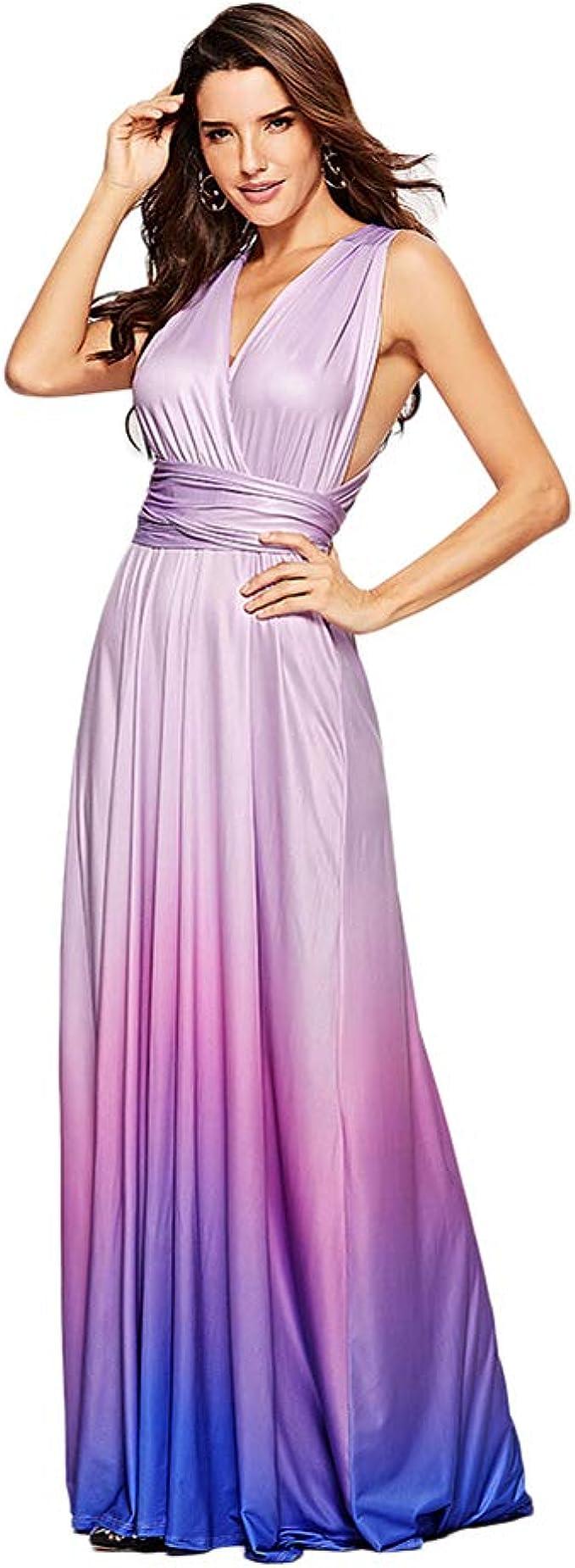 IWEMEK Damen Farbverlauf Unendlich Abendkleid Brautjungfer Brautkleider  Frauen Convertible Multi-Way Kleider Sommerkleider Strandkleid  CocktailKleid
