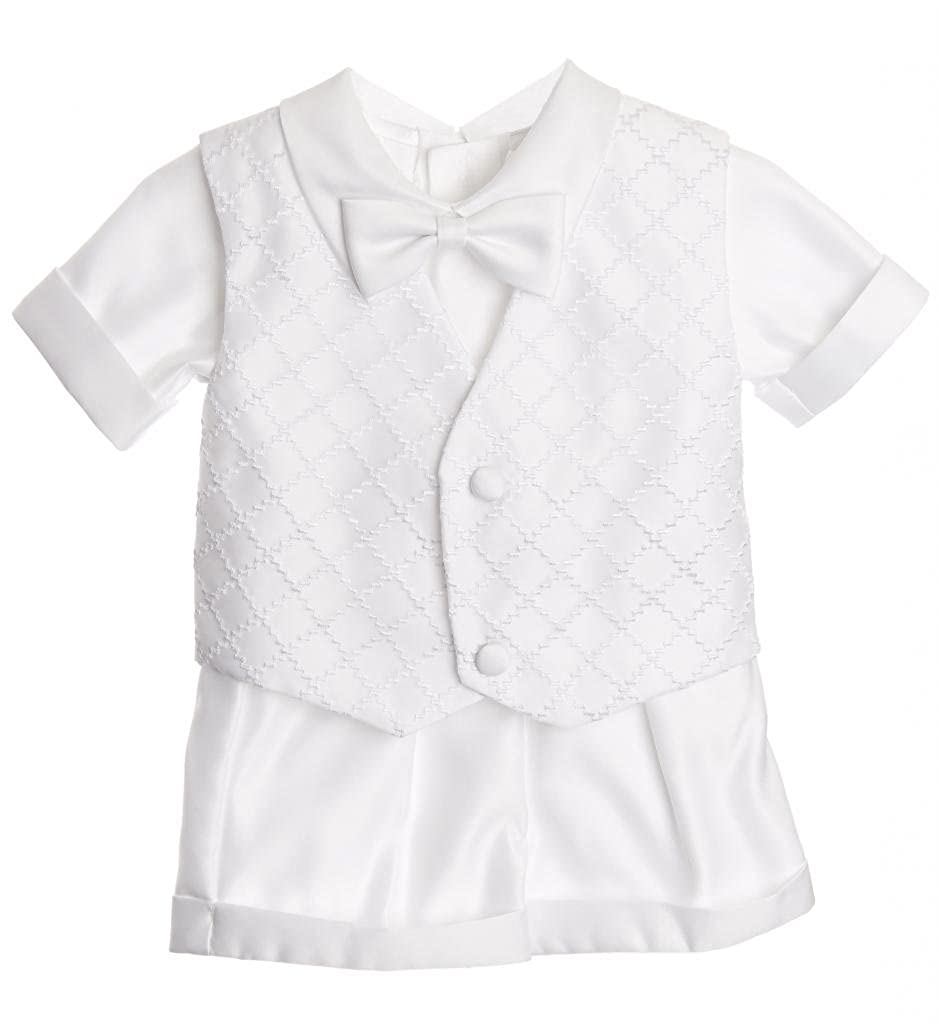 Baby Boy Christening Outfit - Checkered Design Vest Short Set for Baptism