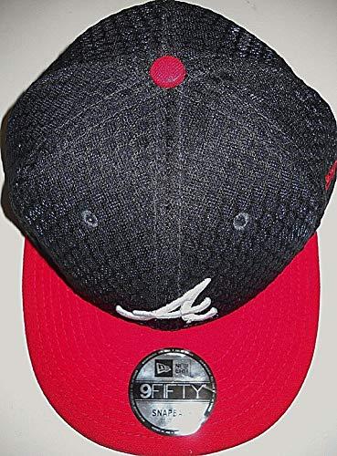 New Era Atlanta Braves Adult Adjustable Snapback Flat Bill Cap Hat with Logo A and Mesh-Like Blue Top ()
