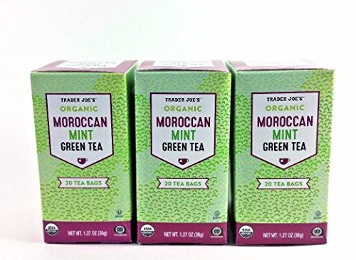 Trader Joe's Organic Moroccan Mint Green Tea 20 tea bags (Pack of 3)