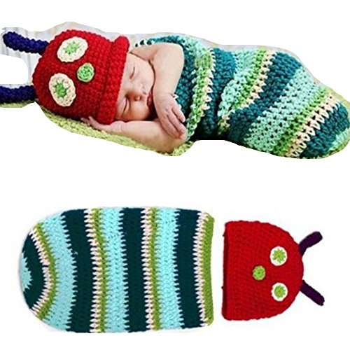 Evelin LEE Cute Caterpillar Style Newborn Baby Soft Handmade Crochet Beanie Hat Clothes Baby Photograph Props Beanie Babies Clothes