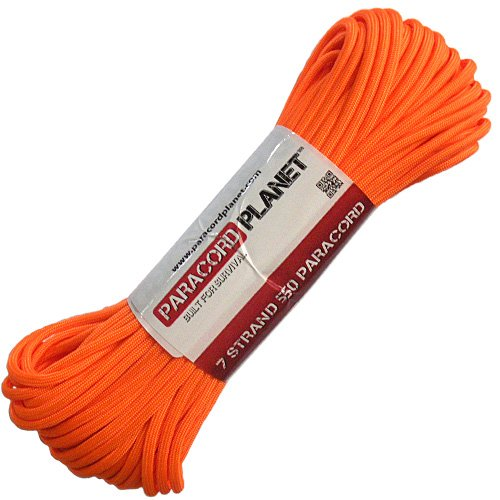 PARACORD PLANET Mil-Spec Commercial Grade 550lb Type III Nylon Paracord (Orange, 100 feet) by PARACORD PLANET
