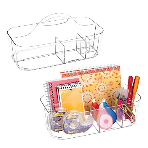 (mDesign Plastic Office Storage Organizer Caddy Tote with Handle for Cabinet, Countertop, Desk, Workspace - Holds Erasable Pens, Colored Pencils, Washi Tape, Notebook - Large, 2 Pack - Clear)