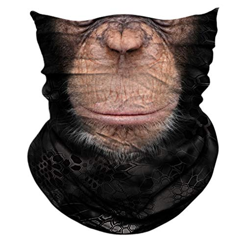 2 Pack - 3D Animal Neck Gaiter Scarf Bandana Face Mask Seamless UV Protection for Motorcycle Cycling Riding Running Fishing Hiking Conoeing Chimpanzee