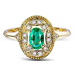 Yellow Gold With Emerald Diamond Ring