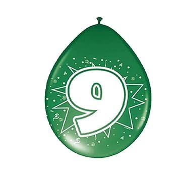 NET TOYS Globos cumpleaños Esfera con número Cumple 9 años balones de Aire Aniversario balón látex con Estampado Esferas hinchables celebración ...
