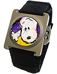 """Snoopy By Everhart"" Featuring Tom Everhart's Image of Snoopy in ""To Every Dog There Is A Season: Fall"" On The Stainless Steel Watch With A Black Wide Cuff Strap"