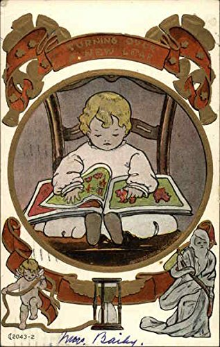 Seated Child Reading Book with Cherub, Father Time and Hourglass Original Vintage Postcard ()