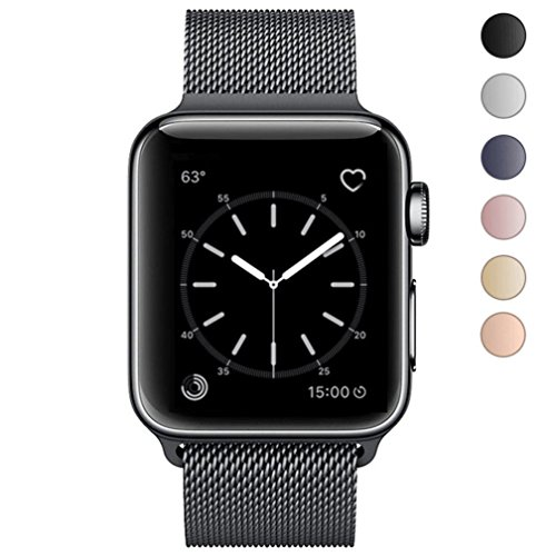 Apple Watch Band 42mm, KYISGOS Strong Magnetic Milanese Loop Stainless Steel Replacement iWatch Strap for Apple Watch Series 3 2 1 Nike+ Sport and Edition, Black