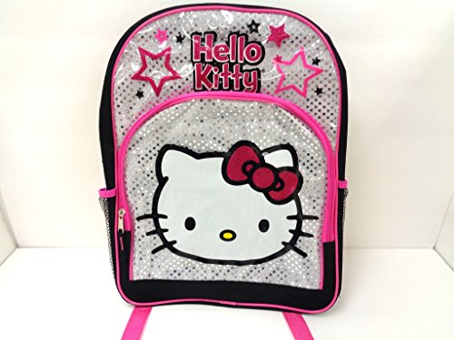 Hello Kitty 16 Large School Backpack Bag Black and Silver