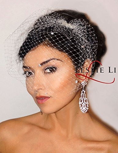 Leslie Li Women's Pearl with Feather Clip & Bridal Birdcage Veil One Size Ivory 27-F67 by Leslie Li (Image #1)