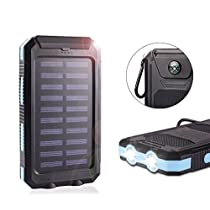 Solar Power Bank 10000mAh Waterproof with Compass Dual USB Battery Solar Charger Battery Fast Charger External Battery Pack Solar Phone Charger with LED Light for Cellphone iPhone Ipad Camera