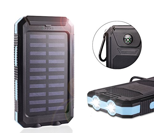 Solar Power Bank 20000mAh Waterproof with Compass Dual USB Battery Solar Charger Battery Fast Charger External Battery Pack Solar Phone Charger with LED Light for Cellphone iPhone Ipad Camera (Blue)