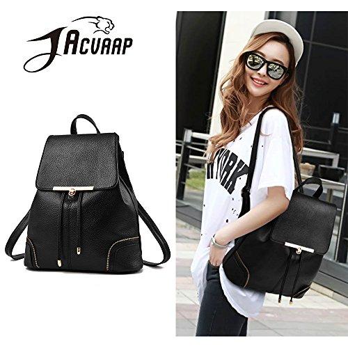 (JVP1029-B) Señoras bolso de estilo japonés señoras mochila cuero de LA PU negro de gran capacidad bolsa de viaje de regreso señoras mochila espalda hombro bolsa popular bolso Negro