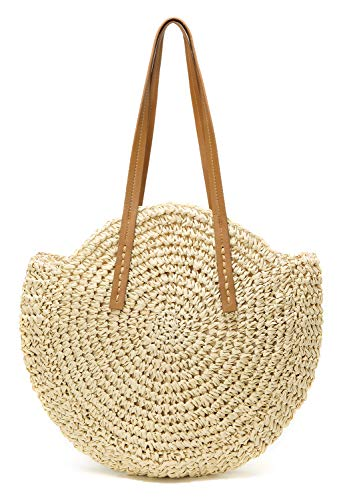 (Round Summer Straw Large Woven Bag Purse For Women Vocation Tote Handbags Beige)