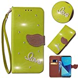 Leecase Bling Diamond Sparkle Glitter 3D PU Leather Bookstyle Magnetic Closure Wallet Flip Cover Creative Love Rhinestone Leaf Pattern for LG G4-Green