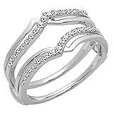 0.25 Carat (ctw) 18K White Gold Diamond Anniversary Enhancer Guard Double Ring 1/4 CT (Size 7)