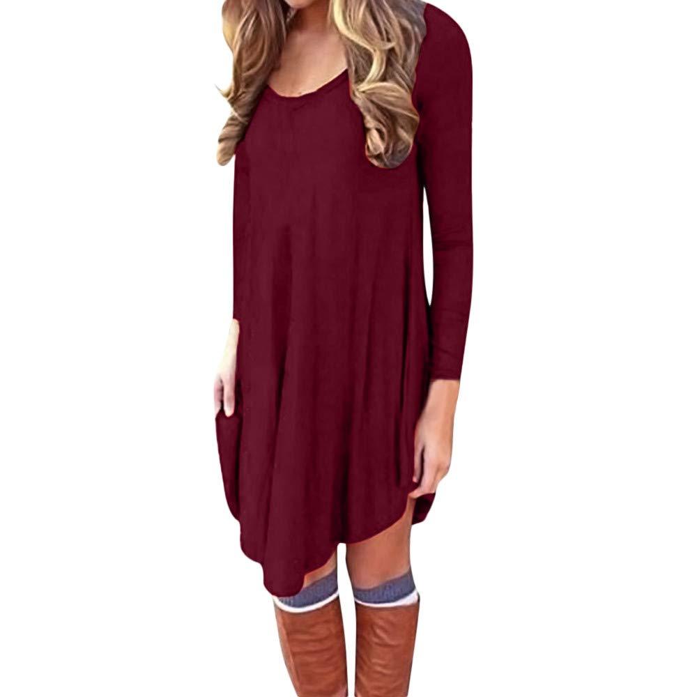 Frashing Langärmeliges Kleider Lässige Minikleid Damen Einfaches Jersey-Kleid Basic Mädchen A-Line Lose Rundhals Tunika Kleid Sweatshirt Pullover Lässige T-Shirts