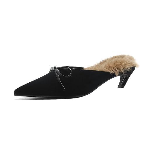 9b7e693e8f ROLISA Women's Suede Rabbit Fur Mules, Backless Pointed Toe Slip On Sandals  Kitten Heels Slippers
