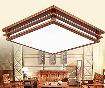 GQLB Lámpara De Techo Chino Moderno Salón Redwood Luz Cuadrados 46 ...