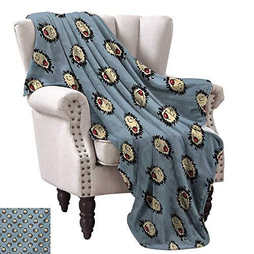 (WinfreyDecor Hedgehog Blanket Sheets Hand Drawn Style Thorny Mammal Mascots Holding Jar of Jam Playful Childhood Theme All Season Premium Bed Blanket 60