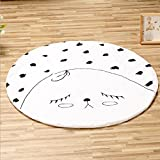 HILTOW Cute Round Floor Mat for Baby Play Crawling Clown Floor Cushion