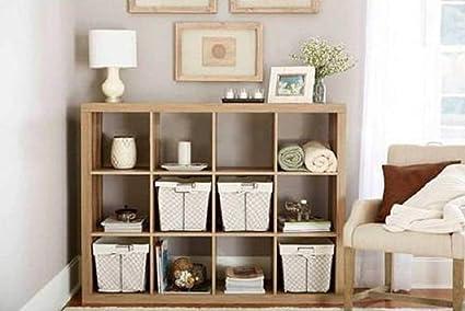 Bookshelf Square Storage Cabinet 4 Cube Organizer Weathered