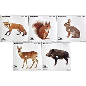 Zielscheiben 14x14cm Tiermotive 50Stk Zielscheibe Schießscheibe Tierscheibe Wild