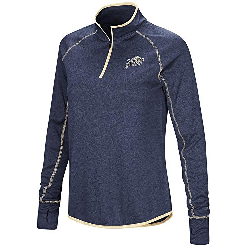 Colosseum Womens Navy Midshipmen Quarter Zip Long Sleeve Shirt - L