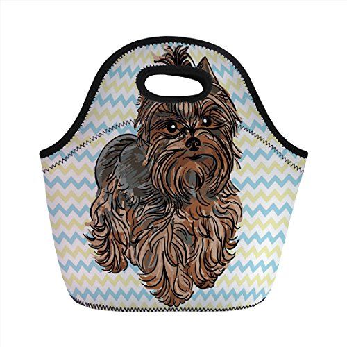 Neoprene Lunch Bag,Yorkie,Cute Brown Yorkie with Even Cuter Buckle on its Head Drawing on Chevron Backdrop,Chesnut Brown,for Kids Adult Thermal Insulated Tote Bags (Elvis Buckle)