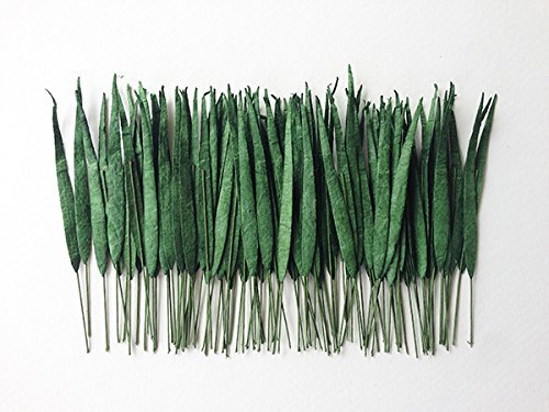 100 Mini Paper Grass Leaves with Wire Stems - Dark Green - Ideal for Cardmaking and - Wire Leaf