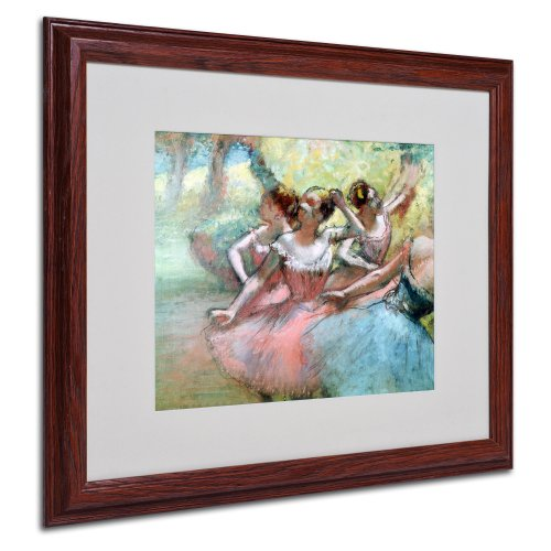 - Four Ballerinas on The Stage Artwork by Edgar Degas in Wood Frame, 16 by 20-Inch