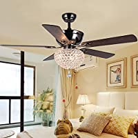 LuxureFan Modern Crystal Ceiling Fan Lihgt with 5 Premium Reverse Wood Leaves and Elegant Crystal Lampshade Pull Chain Decoration for Home Dining Room Restaurant of Mahogany (52Inch)