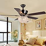 Luxurefan Modern Crystal Ceiling Fan Light with 5 Premium Reversible Wood Leaves and Elegant Crystal Light Cover Pull Chain Decoration for Home Living Room Restaurant of Mahogany (52Inch)