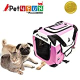 PET4FUN PN950 Foldable Pet Puppy Dog Cat Carrier & Travel Crate w/ Premium 600D Oxford Cloth, Strong Steel Frame, Carry Bag, Locking Zippers, Washable Nap Pad, Room Airy Windows (Small/Pink)
