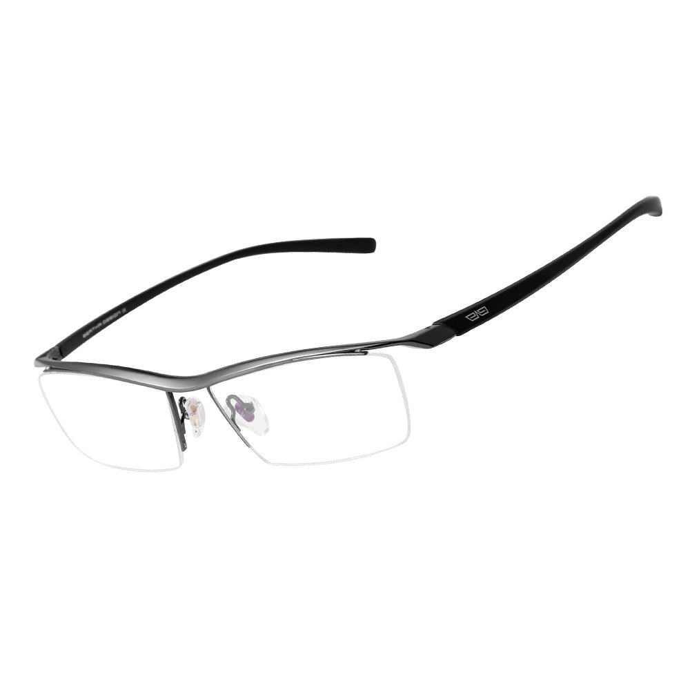 Bertha Men Z Pure Titanium Semi-rimless Eyeglasses Business Optical Frame 8189 (Gun Metal) by Bertha