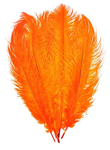 Mandala Crafts 17 to 19 Inches Dyed Plumes Wholesale Ostrich Feathers, 5 PCs (Orange)