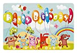 Ambesonne Kids Birthday Pet Mat for Food and Water, Farm Life Animals Balloons Rainbow Clouds Village Theme Party Fun Art Print, Rectangle Non-Slip Rubber Mat for Dogs and Cats, Multicolor