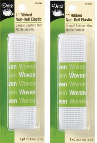 Dritz 9302W Ribbed Non-Roll Elastic, White, 1-Inch (2 Pack)