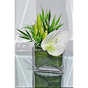 Classic Artificial White Fresh Touch Anthurium and Lily Bud Floral Table Arrangement 112