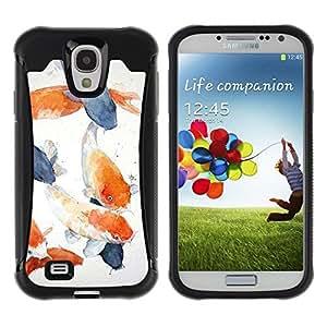 Fuerte Suave TPU GEL Caso Carcasa de Protección Funda para Samsung Galaxy S4 I9500 / Business Style Painting Blue Orange Lagoon