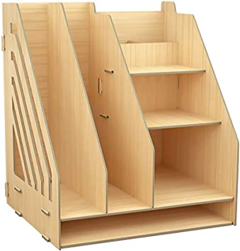 Amazon Com Office Desktop Organiser Multi Functional Wooden Bookshelf Diy Desk Tidy Stationary Storage Cabinet With Drawer And Pen Storage Shelf 4 6 Tier Size Natural 29 5x22x26 2 Kitchen Dining