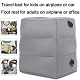 KAILEFU Travel Foot Rest Pillow, Inflatable Adjustable Height Footrest Pillow for Foot Rest on Airplanes,Car, Train, Office, Airplane Bed for Kids/Toddler to Lay Down or Sleep on Long Flights (Grey)
