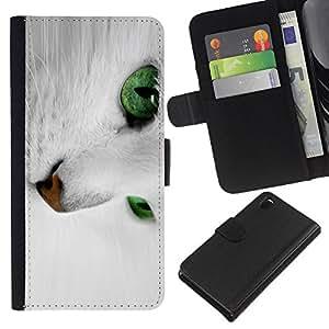 KLONGSHOP // Tirón de la caja Cartera de cuero con ranuras para tarjetas - Gato blanco con los ojos verdes - Sony Xperia Z3 D6603 //