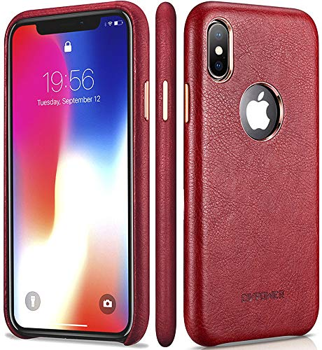 iPhone X Red Leather Case – Premium Leather iPhone X Case – Best Mobile Cell Phone Cases Protective Back Cover - Slim Fit Vegan Artificial Synthetic PU Leather Case for Apple iPhone x 10 Ten – Red