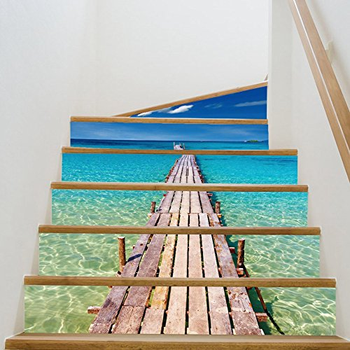 Tiles Carpet Set (Chige Stair Stickers, 3D Creative Staircase Stickers, Self-adhesive Removable Waterproof Staircase Murals Wallpaper Decal for Stairway or Home Decor - 6 PCS/SET (Seaside Beach))