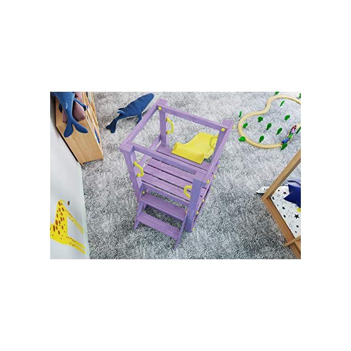 51 ZU%2Bg35CL Torre de madera lila y tobogán amarillo, presas de escalar, asas y tapas protectoras Tobogán en polietileno de alta densidad, aprobado TÜV Longitud total con tobogán 188cm. Torre 70x70cm x 120cm de altura