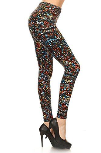(S110-PLUS Multicolored Mosaic Print Fashion Leggings)